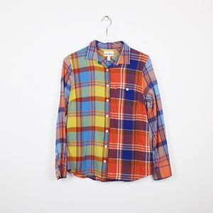 J.Crew Top Colorful Plaid Button Down Boy Shirt 8
